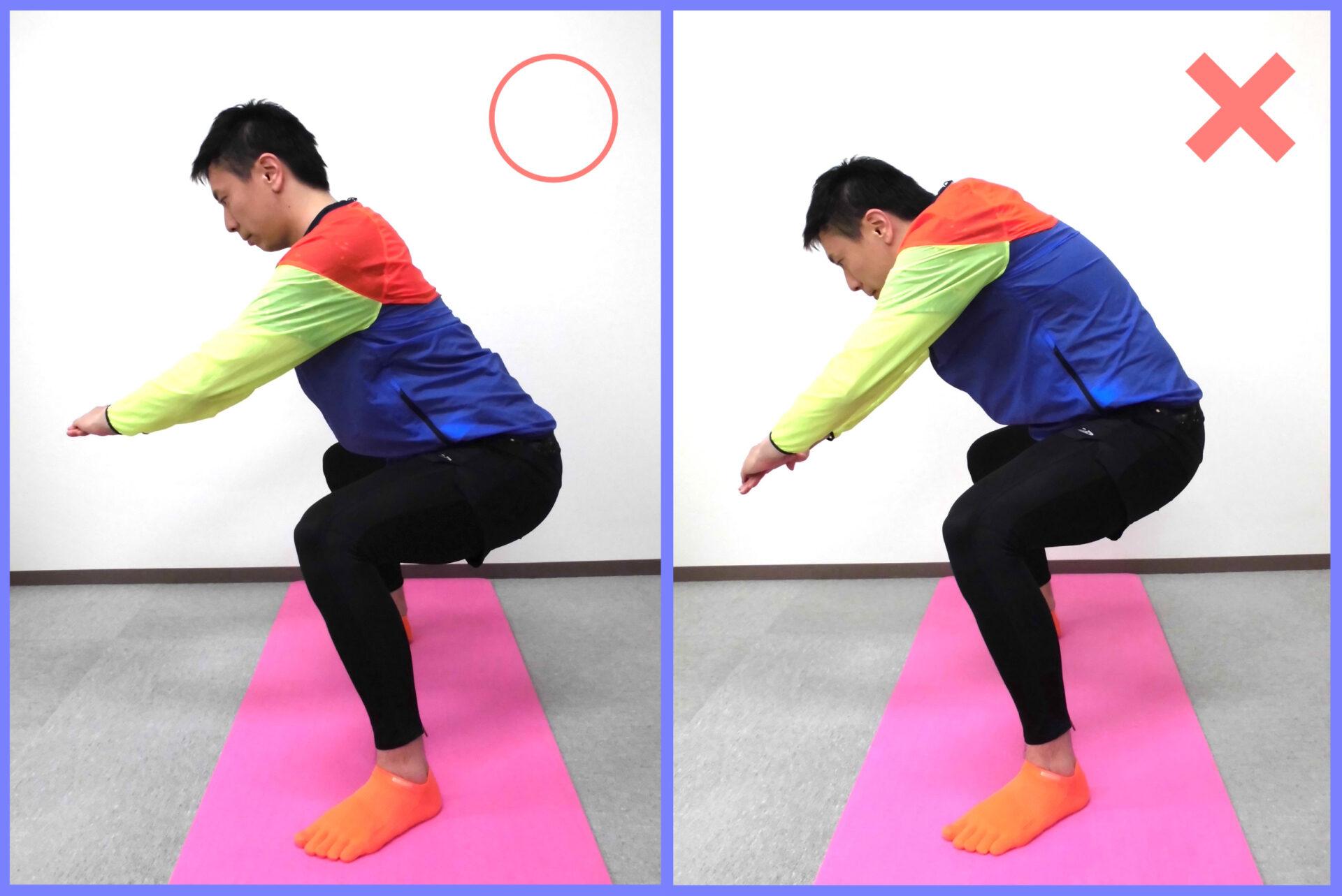 スクワットで効果的に太もも痩せする為に、姿勢が大切で、姿勢の正誤判断を紹介している写真 ミスリル名古屋